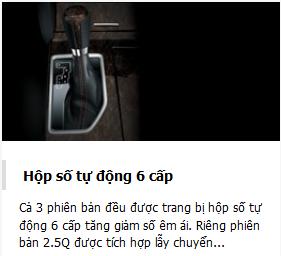 he thong van hanh toyota camry 2.5Q 2018
